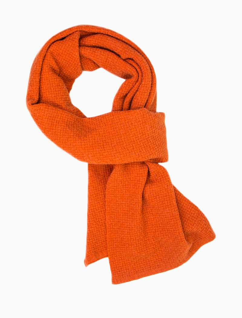Orange Basket Weave Knitted Wool & Cashmere Scarf | 40 Colori