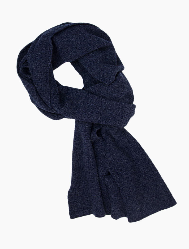 Navy Basket Weave Knitted Wool & Cashmere Scarf | 40 Colori