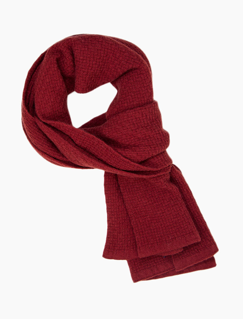 Red Basket Weave Knitted Wool & Cashmere Scarf | 40 Colori
