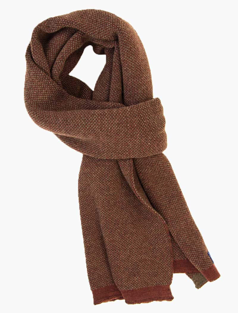 Burgundy & Brown Melange Knitted Wool Scarf