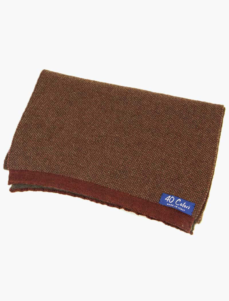 Burgundy & Brown Melange Knitted Wool Scarf - 40 Colori