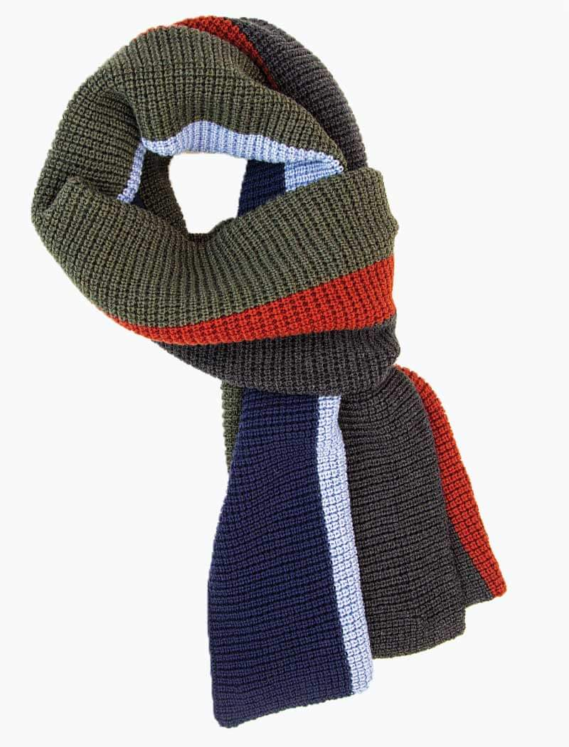 Charcoal & Olive Green Vertical Striped Knitted Wool Scarf