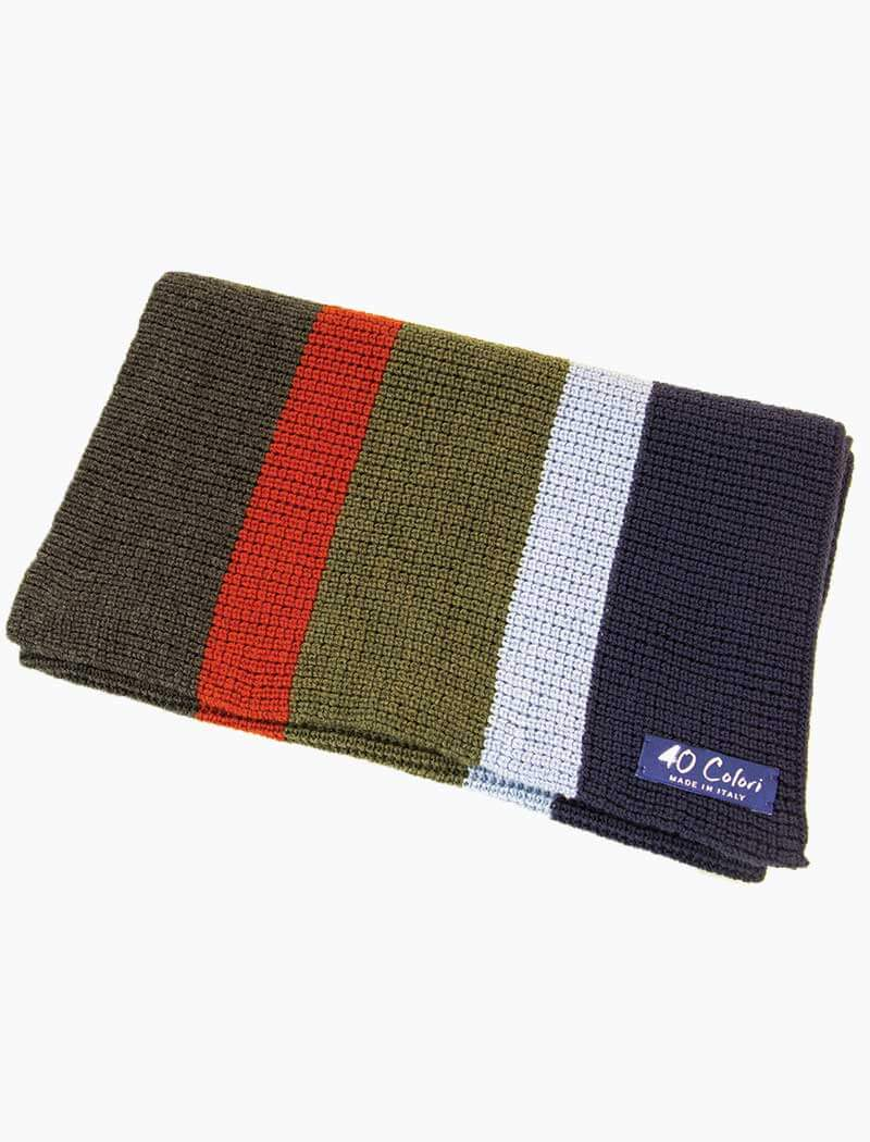 Charcoal & Olive Green Vertical Striped Knitted Wool Scarf - 40 Colori