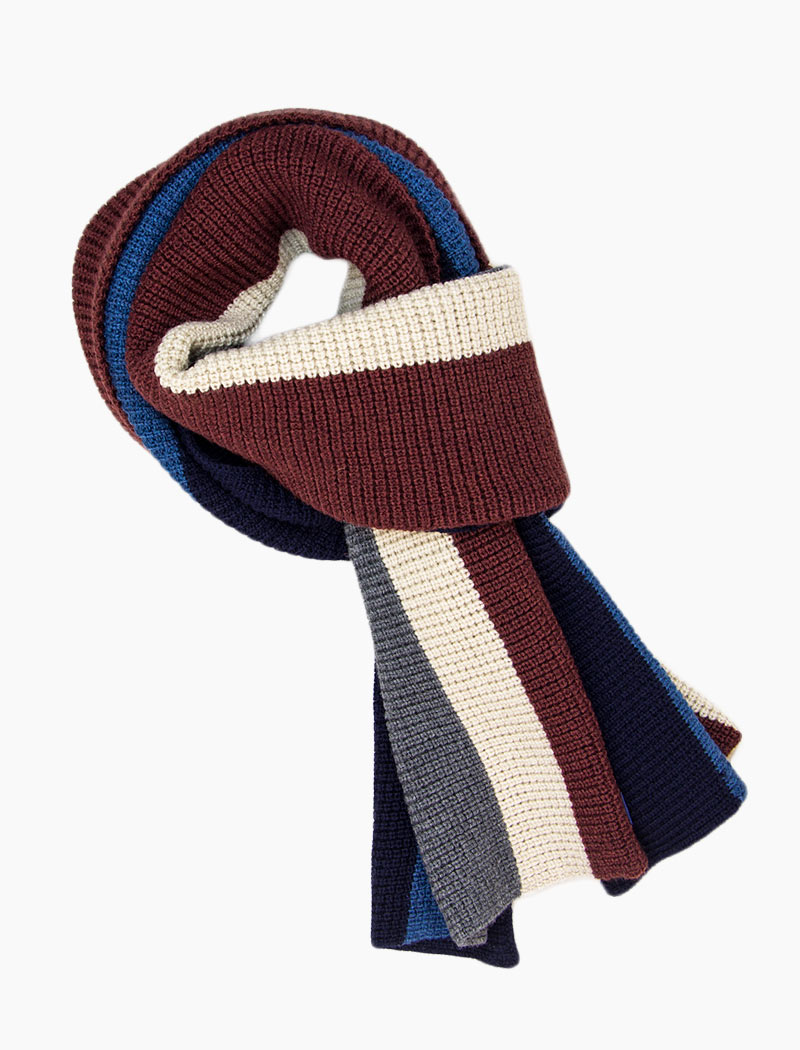 Burgundy & Grey Vertical Striped Knitted Wool Scarf | 40 Colori