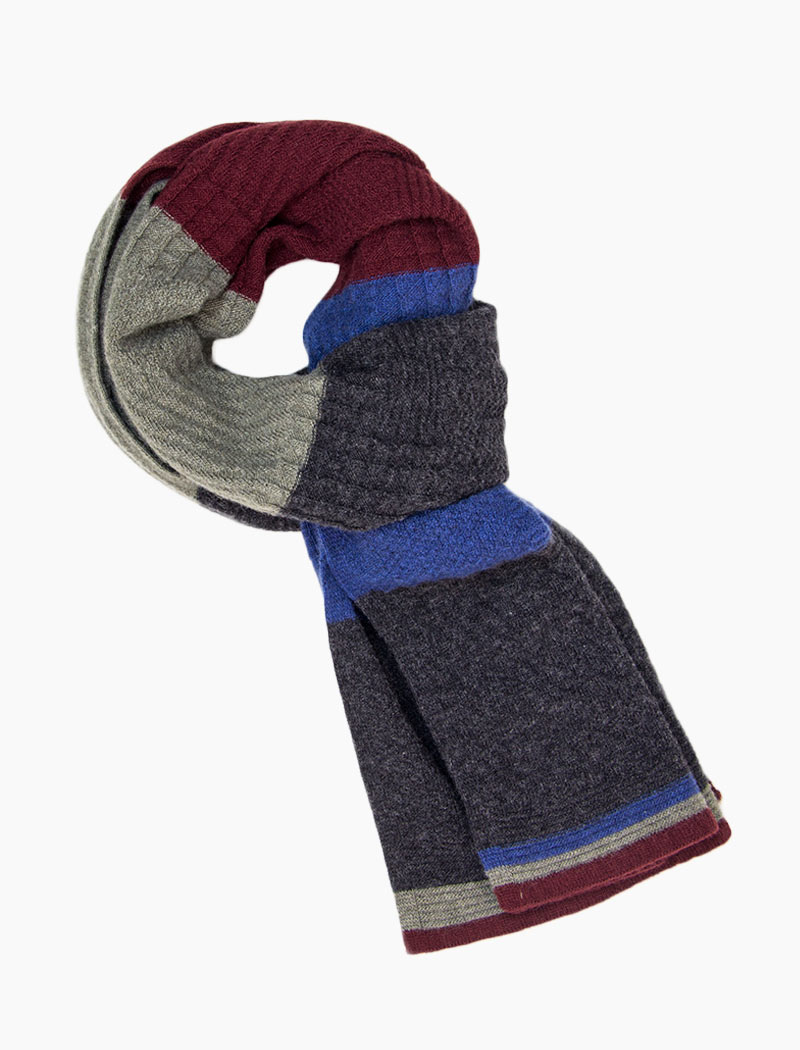 Charcoal Textured Thick Striped Knitted Wool & Cashmere Scarf | 40 Colori