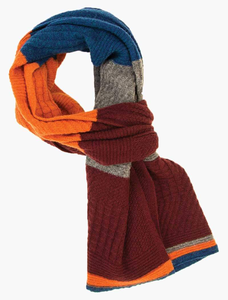 Burgundy & Orange Textured Thick Striped Knitted Wool & Cashmere Scarf - 40 Colori