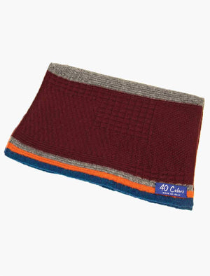 Burgundy & Orange Textured Thick Striped Knitted Wool & Cashmere Scarf