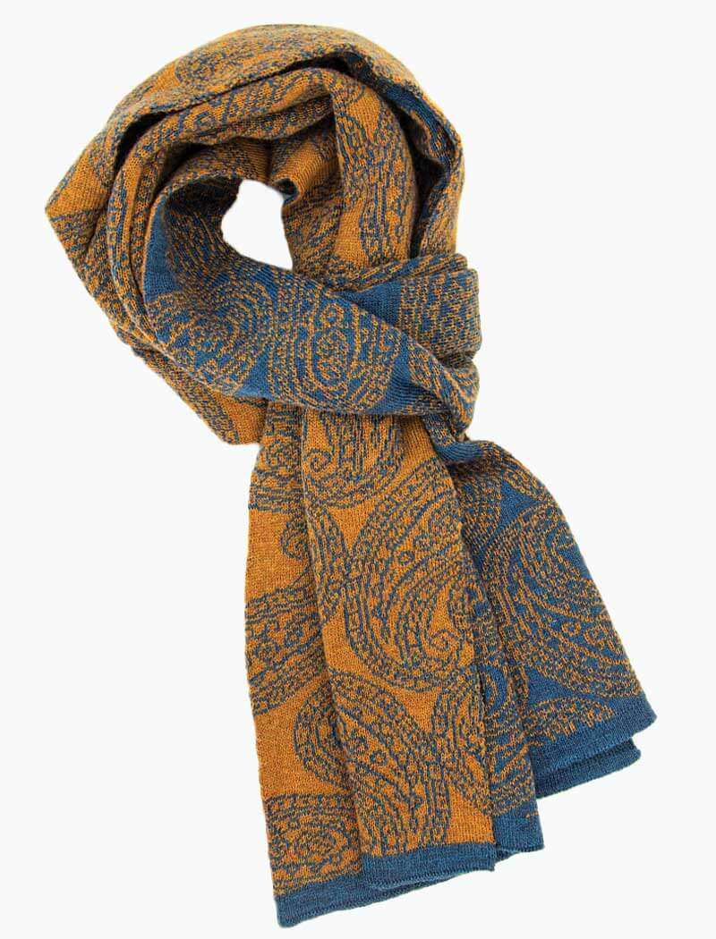 Petrol & Orange Reversible Paisley Knitted Wool Scarf