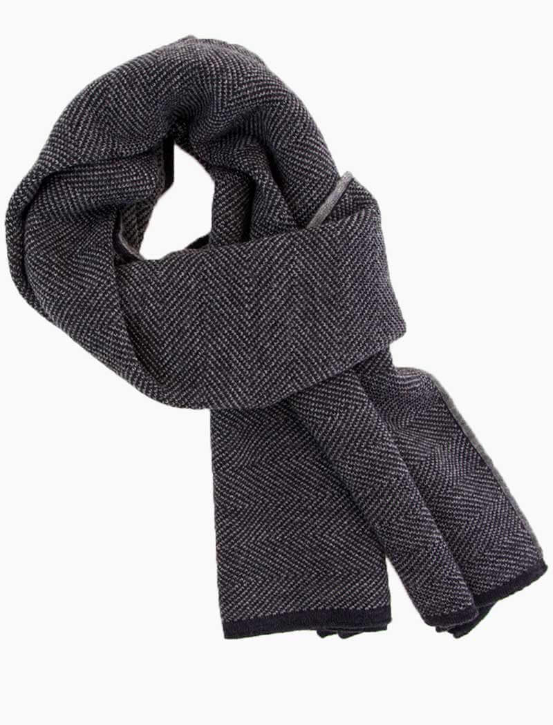 Charcoal & Grey Reversible Herringbone Wool Scarf | 40 Colori