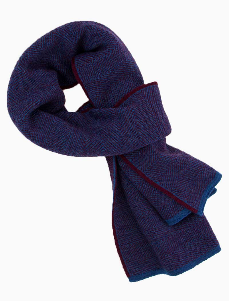 Burgundy & Blue Reversible Herringbone Wool Scarf | 40 Colori
