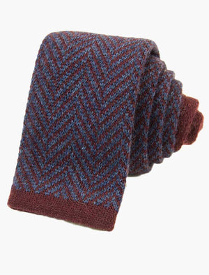 Burgundy & Blue Herringbone Cashmere Knitted Tie