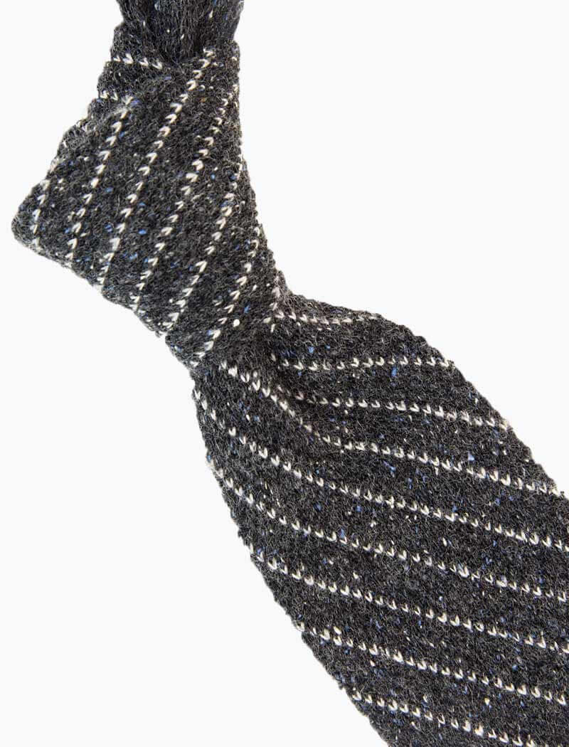 Grey Melange Bar Striped Wool Knitted Tie | 40 Colori