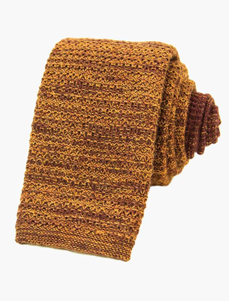 Rust Melange Wool Knitted Tie
