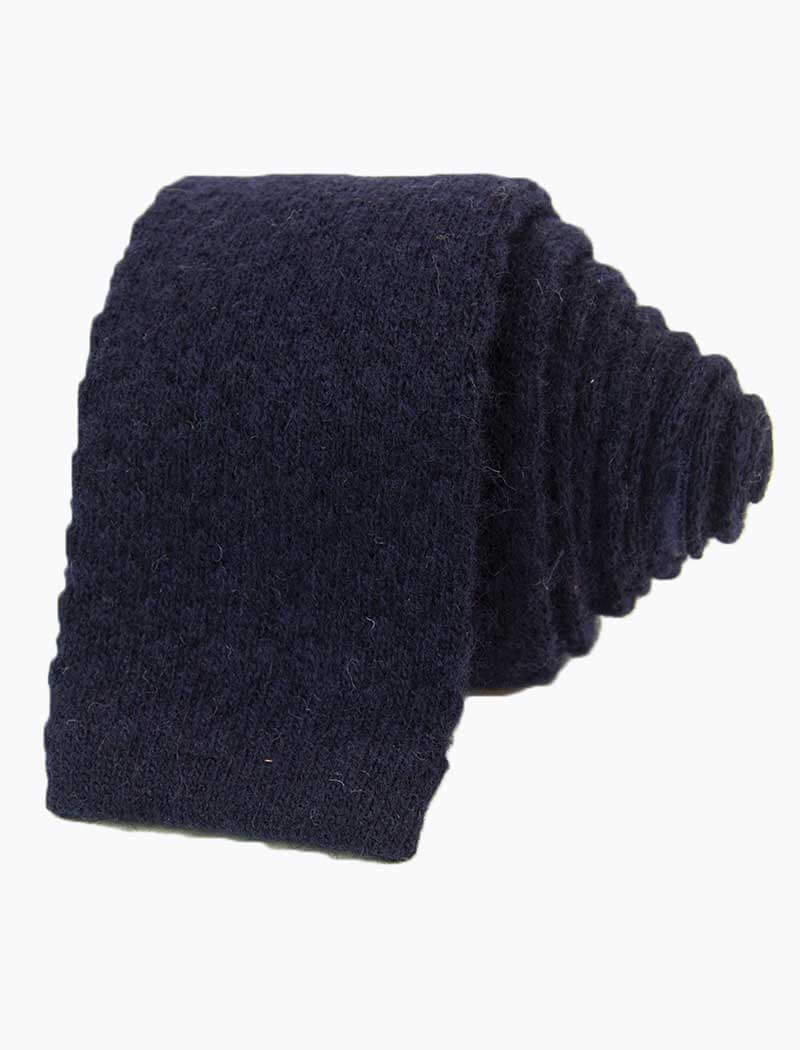Navy Solid Textured Wool & Cashmere Knitted Tie