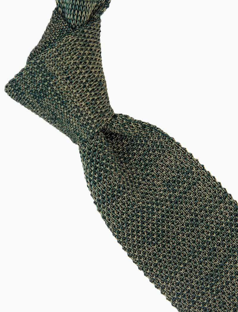 Olive Green Melange Silk Knitted Tie | 40 Colori