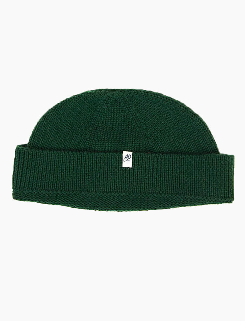 Forest Green Solid Wool Fisherman Beanie