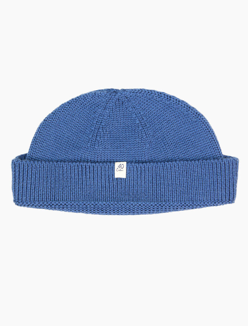 Cadet Blue Solid 100% Wool Fisherman Beanie | 40 Colori