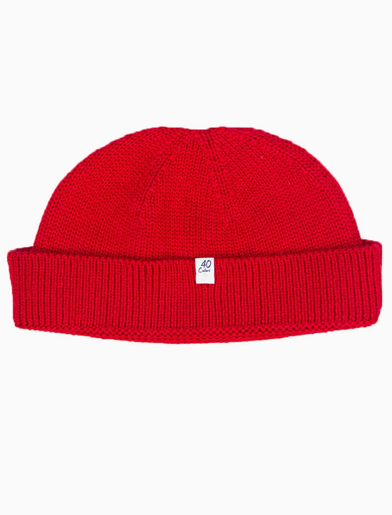Red Solid Merino 100% Wool Fisherman Beanie | 40 Colori