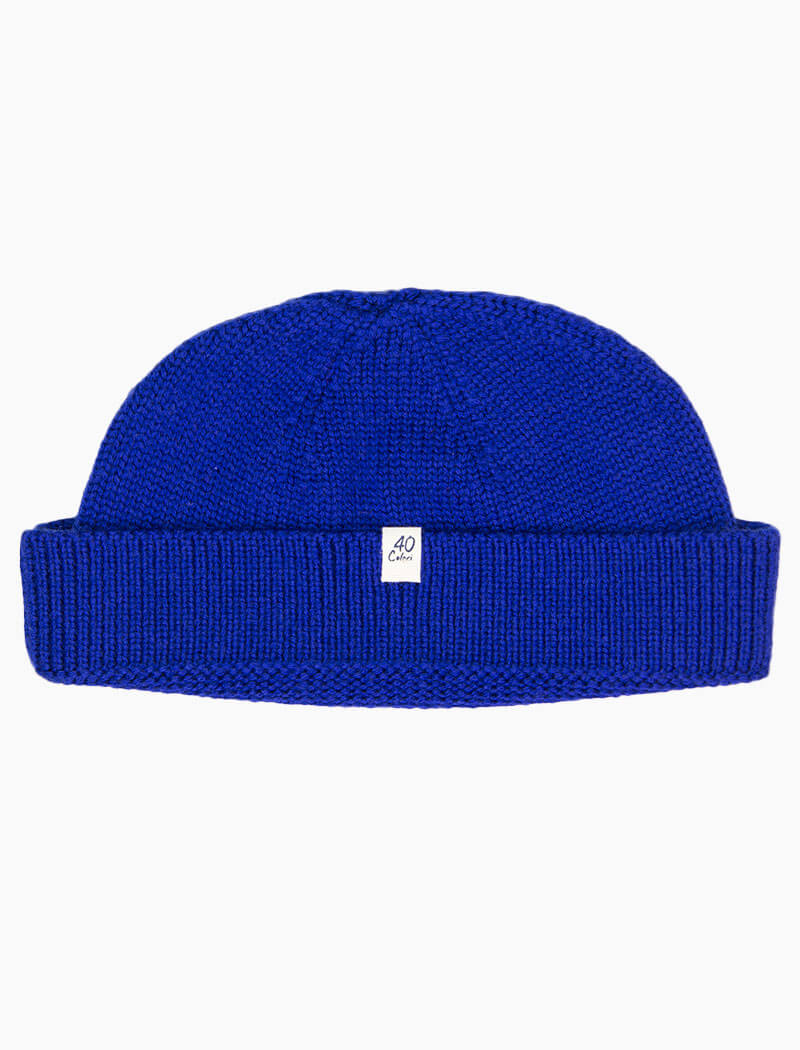 Royal Blue Solid 100% Merino Wool Fisherman Beanie | 40 Colori