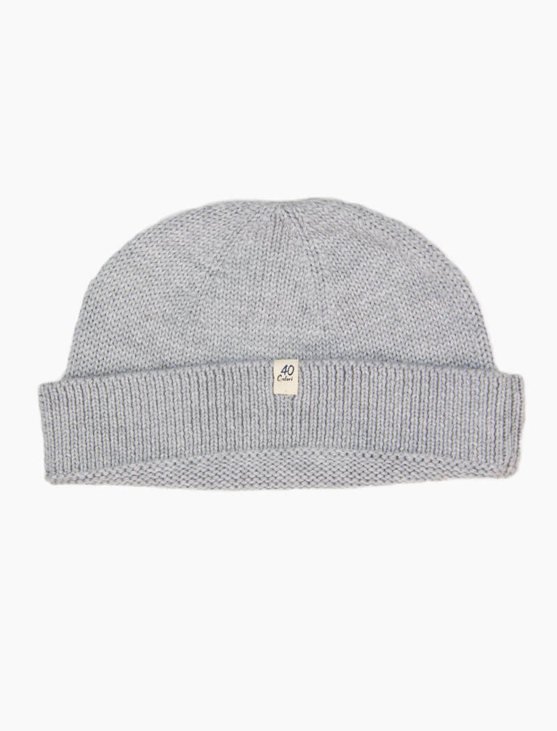 Light Grey Solid 100% Wool Fisherman Beanie | 40 Colori