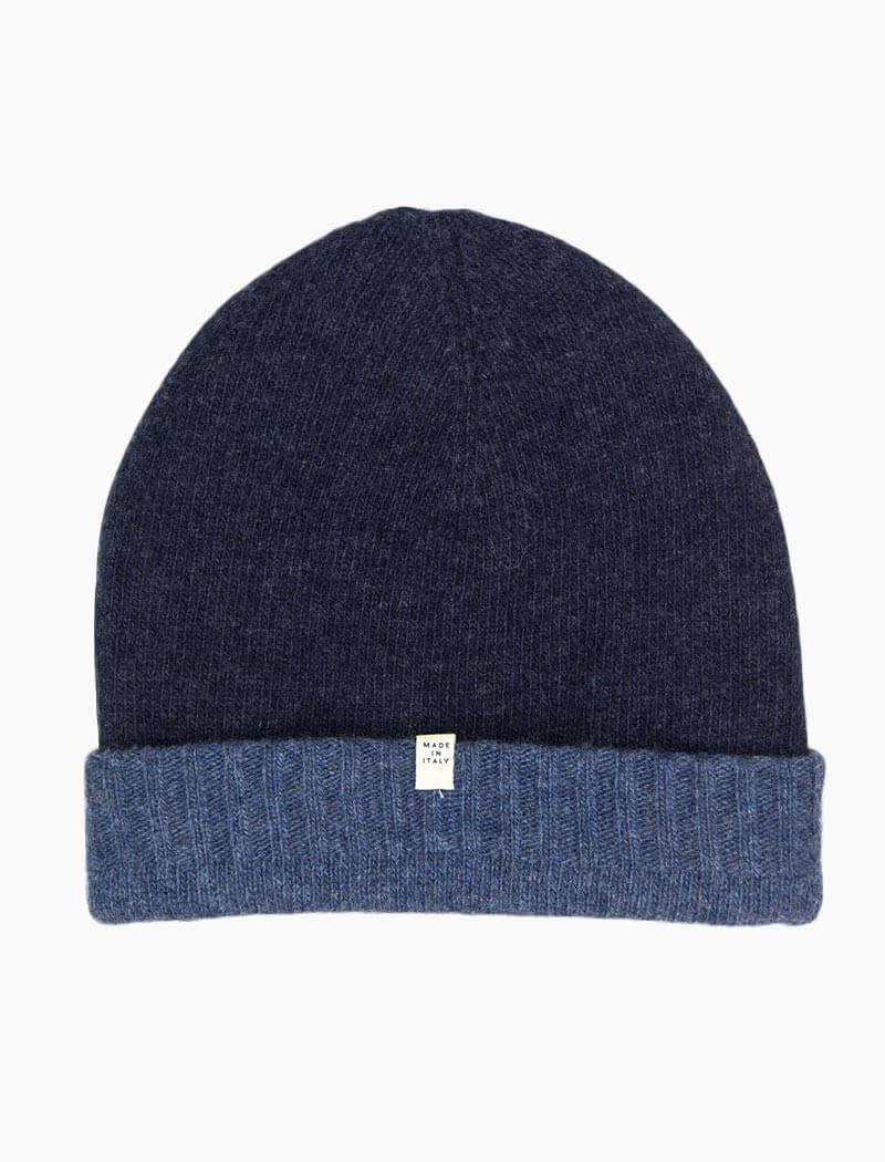 Jeans Blue & Navy Reversible Wool & Cashmere Beanie | 40 Colori