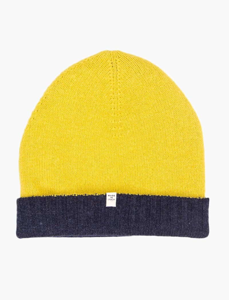 Navy & Yellow Reversible Wool & Cashmere Beanie | 40 Colori