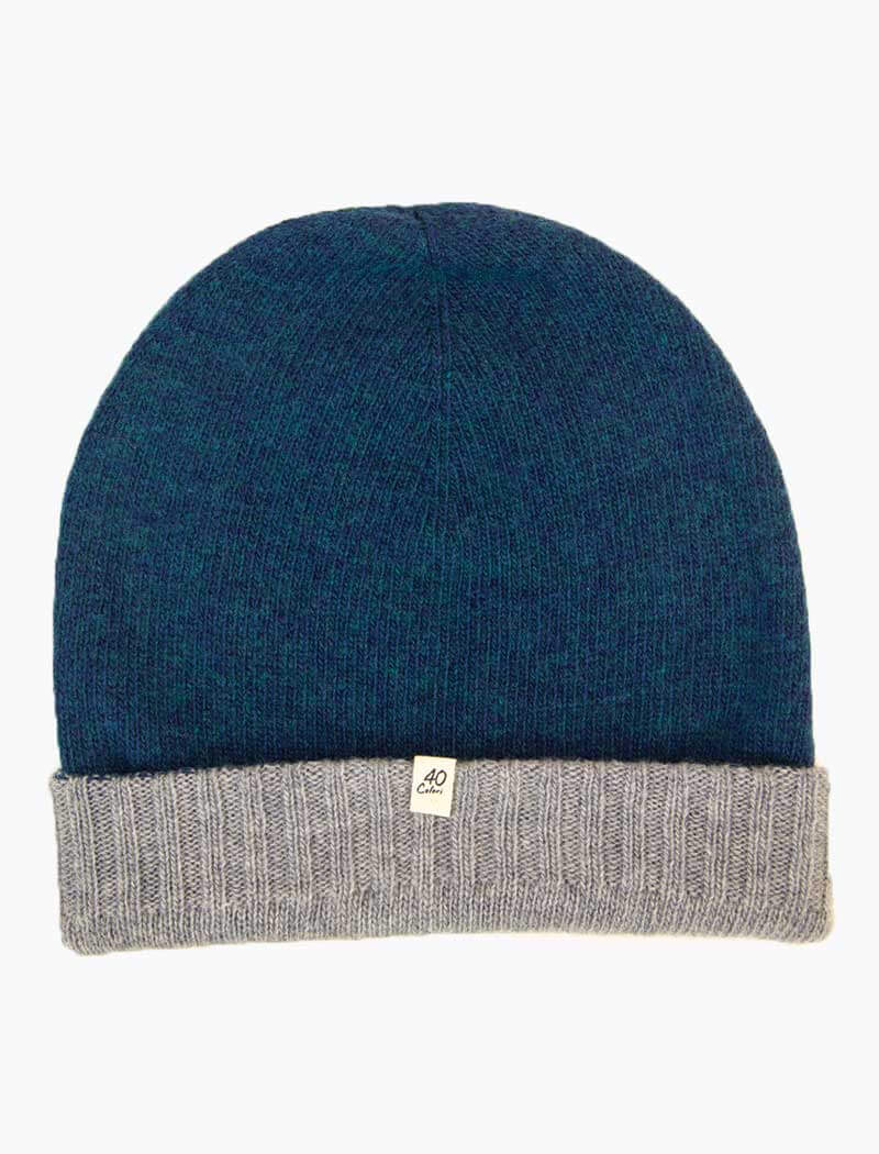 Petrol & Light Blue Reversible Wool & Cashmere Beanie | 40 Colori