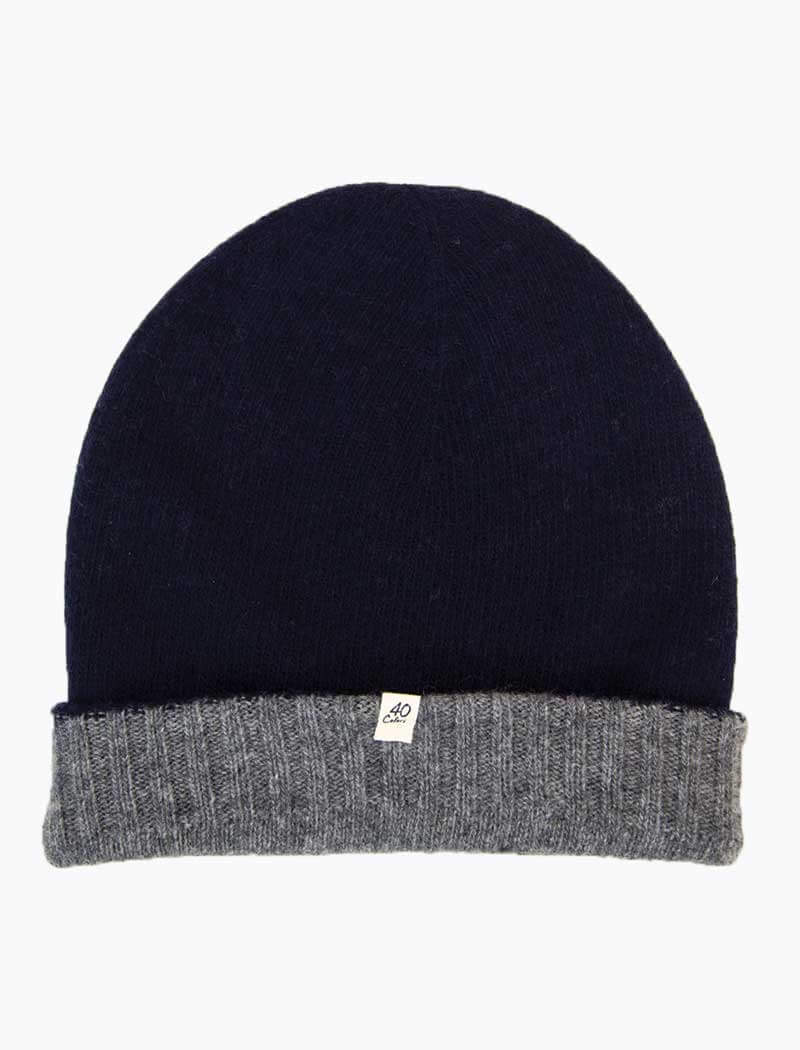 Navy & Grey Reversible Wool & Cashmere Beanie | 40 Colori