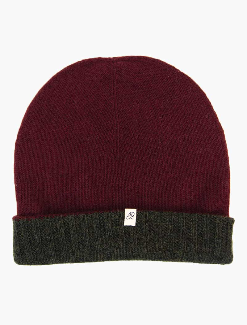 Burgundy & Olive Green Reversible Wool & Cashmere Beanie | 40 Colori