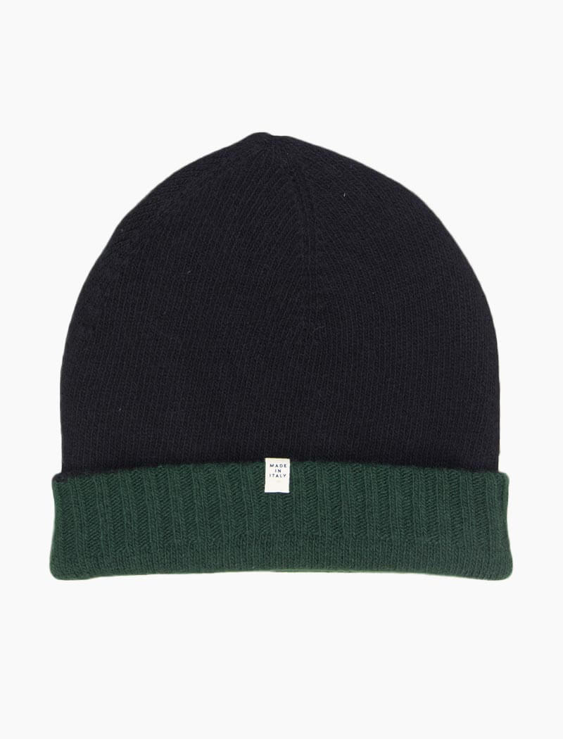 Dark Green & Black Reversible Wool & Cashmere Beanie | 40 Colori