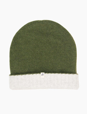 Light Green & Light Grey Reversible Wool & Cashmere Beanie | 40 Colori