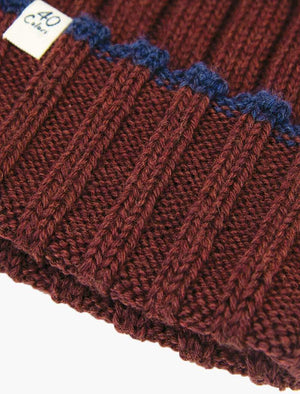Burgundy Wide Ribbed Wool Beanie | 40 Colori