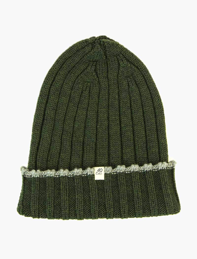 Green Wide Ribbed Wool Beanie | 40 Colori