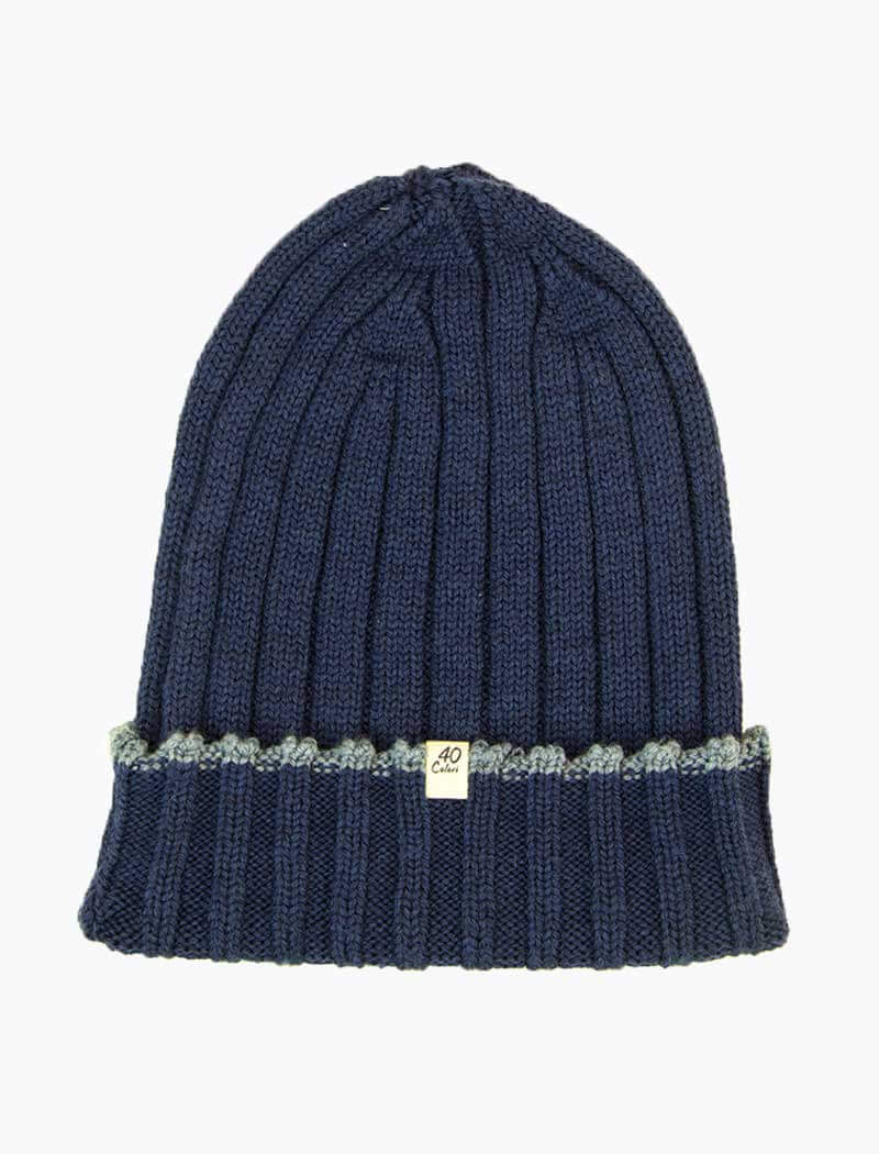 Blue Wide Ribbed Wool Beanie | 40 Colori