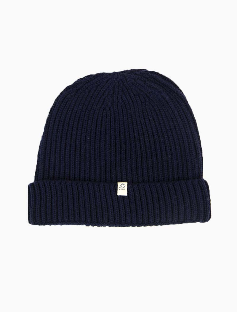Navy Small Ribbed Wool Beanie