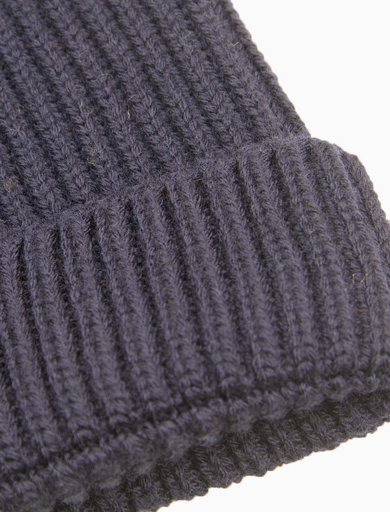 Navy Small Ribbed Wool Beanie - 40 Colori