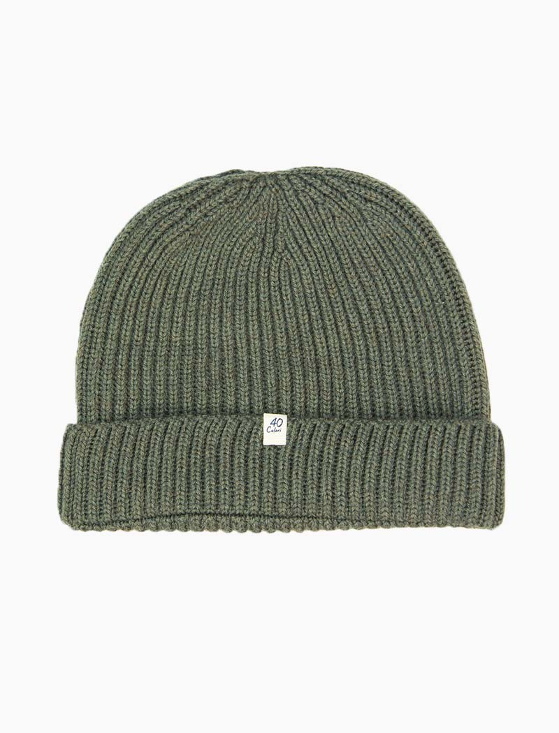 Olive Green Small Ribbed Wool Beanie