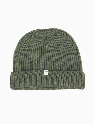 Olive Green Small Ribbed Wool Beanie - 40 Colori