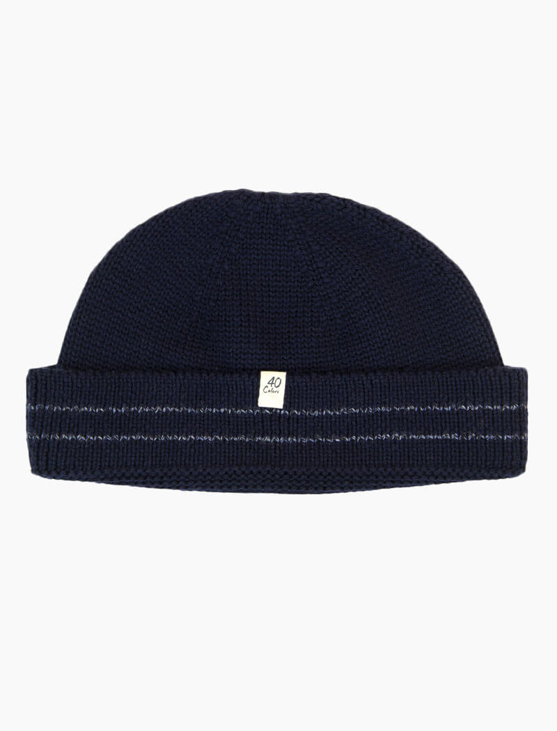 Dark Blue Striped Wool Fisherman Beanie | 40 Colori
