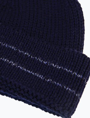 Dark Blue Striped 100% Wool Fisherman Beanie | 40 Colori