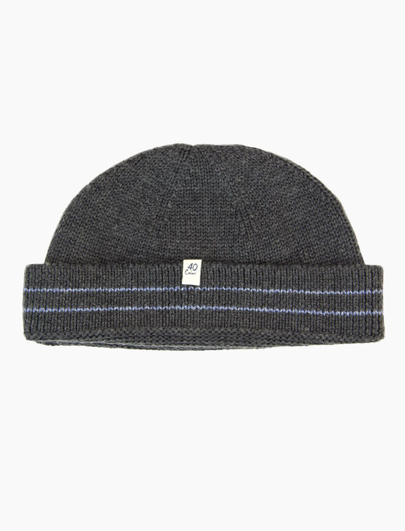 Grey Striped 100% Wool Fisherman Beanie | 40 Colori