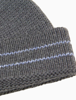 Grey Striped Wool Fisherman Beanie