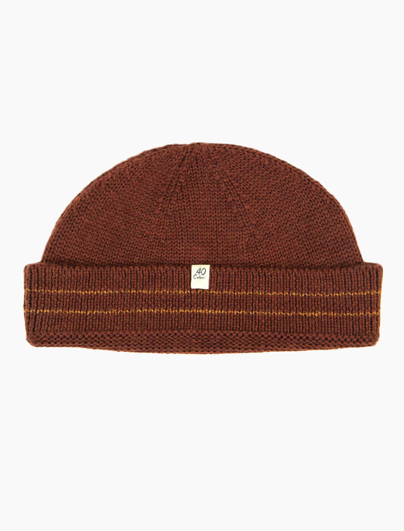 Burgundy Striped 100% Wool Fisherman Beanie | 40 Colori