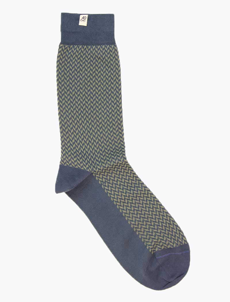 Jeans Blue & Pistachio Herringbone Organic Cotton Socks | 40 Colori