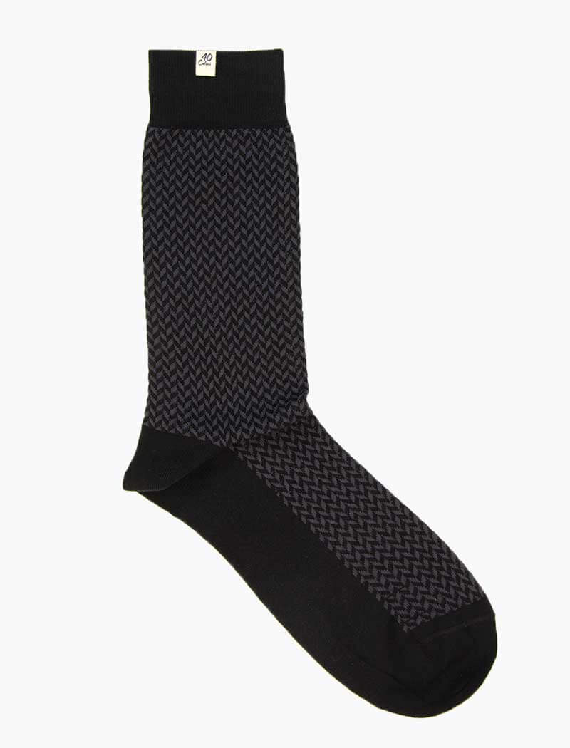 Black & Grey Herringbone Organic Cotton Socks | 40 Colori