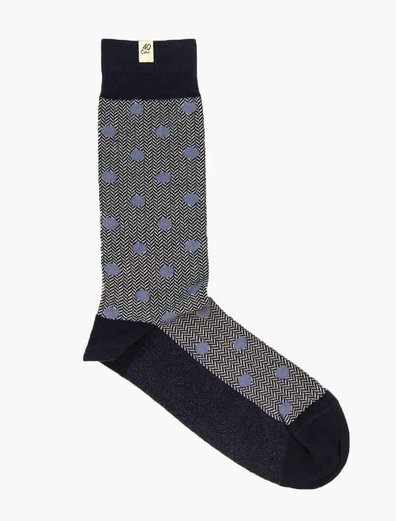 Navy & Light Blue Polka Dot & Chevron Organic Cotton Socks | 40 Colori