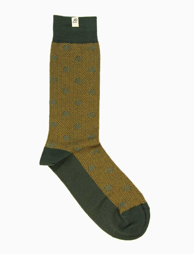 Olive Green & Mustard Polka Dot & Chevron Organic Cotton Socks | 40 Colori