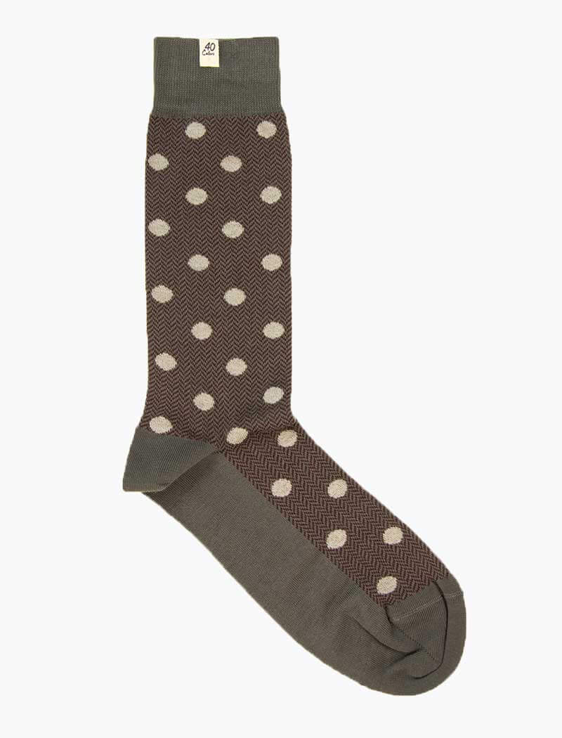Grey & Burgundy Polka Dot & Chevron Organic Cotton Socks | 40 Colori
