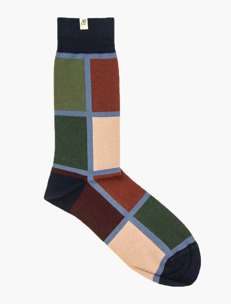 Navy Mondrian Organic Cotton Socks | 40 Colori