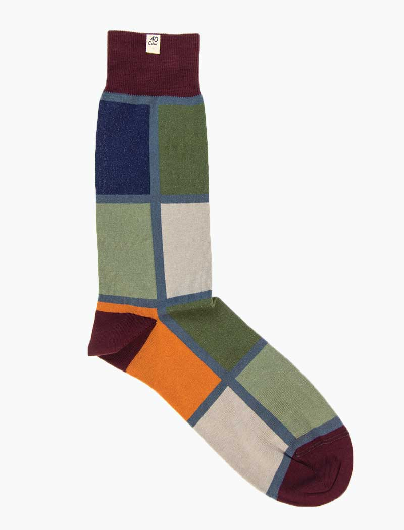 Burgundy Mondrian Organic Cotton Socks | 40 Colori